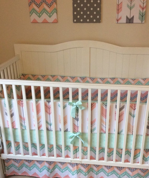 peach gray coral and mint arrows crib bedding set deposit. Black Bedroom Furniture Sets. Home Design Ideas