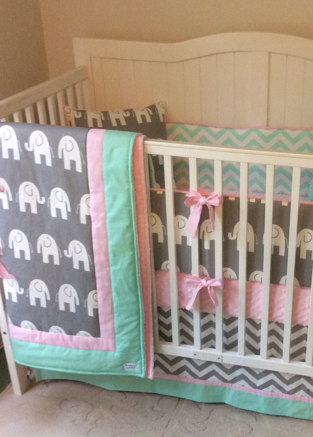 Baby Girl Crib Bedding Set Gray Pink And Mint Elephant Deposit