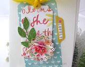 Flower Tag Handmade Blank Card~green~yellow~pink~aqua blue~pretty packaging~lovely~scrapbook planner