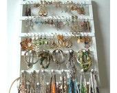 Jewelry Organizer Earring Holder, Lovely White Stained Bracelet Display, Solid Oak Hardwood, Slight Grain, Necklace Rack, Combo Style
