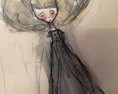 Original Watercolor painting - Inky Girl in Blonde - Original Mixed Media Painting - Jessica von Braun - 2015 -  OOAK Piece