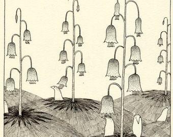 Original drawing - His garden flowers 2