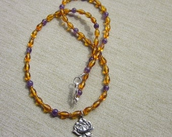 Lotus Charm Necklace With Amber & Amethyst