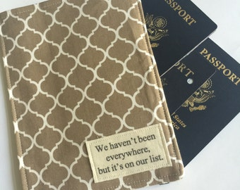 Family Passport Cover, We haven't been everywhere but it's on our list, Passport Wallet for 4 to 8 Travel Wallet Tile and Map Fabric