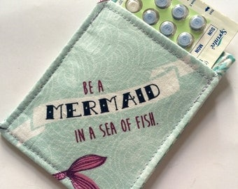 Birth Control Pill Sleeve, Pill Travel Sleeve, Be a Mermaid, Cute and Discreet for your Bag