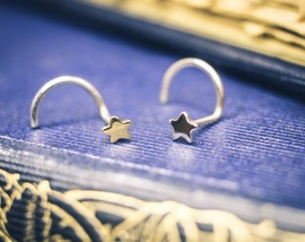 Adorable 14K Gold or Solid Sterling Silver 3mm Little Star Nose Stud/ Tragus Piercing