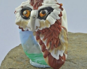 Barn Owl Focal Bead Sculpture - Flameworked Glass Bead - Handmade Lampwork Glass Sculpture Bead