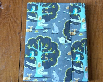 Les Amis Fabric Covered Composition Book Cover - with pen and composition book, fabric covered notebook