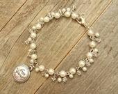 White bracelets, white jewelry, pearl jewelry, pearl bracelets, faux pearl jewelry, charm bracelets, free spirit, bracelets with words, free