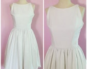 Vintage 1950s Jonathan Logan/ Little White Dress/ Cotton/ Small