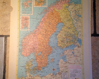 Political Map of Norway, Sweden, Finland, and Denmark Antique Illustration