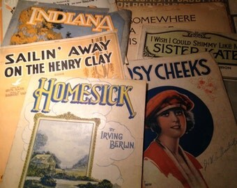 Instant Collection of Antique Popular Sheet Music for Repurposing