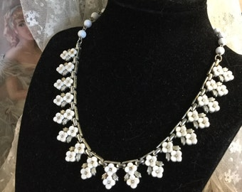 Bright White Signed Coro Flower Bib Mini Necklace