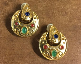 Egyptian Revival Gripoix de Verre Earrings Clip On Dangling Red Green Blue Cabochons Gold Tone Metal Half Moon Unsigned