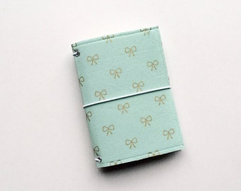 NEW - tiffany blue small fauxdori fabric travelers notebook cover, notebook included