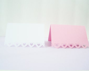 Place Cards with Heart Lace Border, Table Setting Seating Cards, Buffet Food Marker, Wedding, Tea, Bridal Shower, Luncheon Place Setting