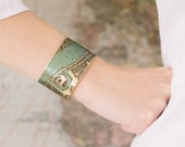 Elizabethan London Map Jewelry - Antique Street Map with the River Thames and Tower of London - Brass Cuff Bracelet