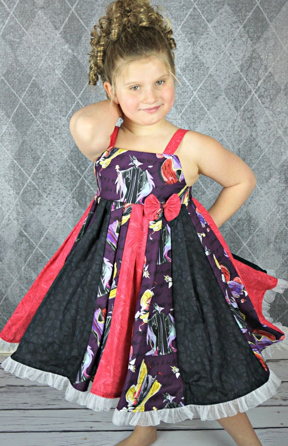 custom boutique dress made with disney villain  fabric size 7/8 ready to ship sale