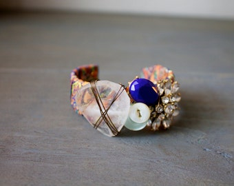 Cuff with Trim, Quartz, Lapis and Vintage Buttons