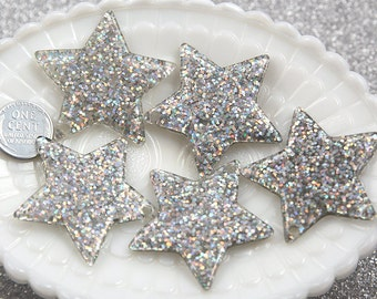 Star Charms - 40mm Silver Glitter Stars Resin Charms - 4 pc set