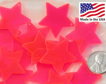 Resin Star Charms - 30mm Bright Pink Star Acrylic or Resin Charms - 6 pc set