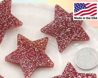 40mm Pink Glitter Stars Resin Cabochons - 5 pc set