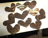 10 Rusty Tin Hearts--Hand Cut--Tin Can Lids--Natural Rusty Patina--Country--Primitive--Rustic--Craft Supply--Salvage Art Decor--Weathered