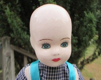 Vintage Ceramic Bald Girl Doll--Stuffed Body Arms Legs--Plaid Shirt with Blue Overalls--Crazing Handpainted Face--Creepy Halloween Decor