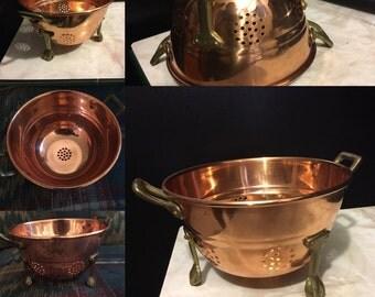 Vintage Copper Standing Colander--Kitchen Utencil--Shiny Copper and Brass--Country French Kitchen Strainer--Farmhouse Kitchenwre--Collander