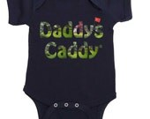 Daddys Caddy Golf bodysuit by Mumsy Goose Newborn Rompers to Kids Tees English or Spanish