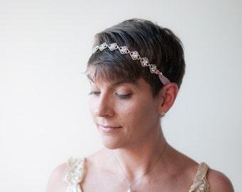 Rhinestone headband,  Pale dusty pink silk ribbon tie on Tiara headband