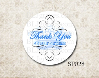 Custom Stickers Thank You For Your Purchase French Crown Blue
