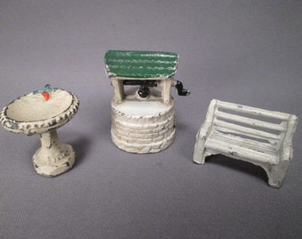 Vintage Miniature Cast Metal Fairy Garden Furniture - Wishing Well - Bench - Bird Bath