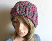 City Park Beanie - In Designer Wool  Yarn - Winter Fall Season - Thick Chunky Warm - Pink Gray - Indie Boho - Ready to Ship