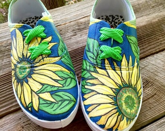 Sunflower Shoes - Size 9/Adult -  for the Woman Who Loves Summertime, Gardening and Flowers - Handpainted by NC Portrait Artist