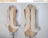 SALE Fox Fur Wrap Collar / silver scarf / bridal wedding