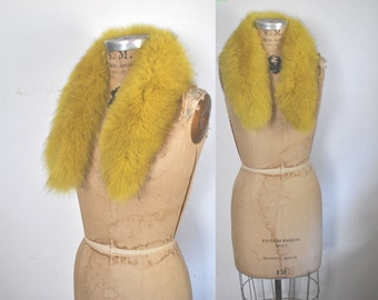RARE YELLOW Fox Fur Collar / 1980s