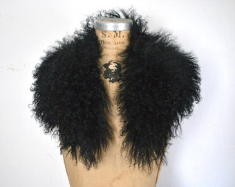Black Tibetan Fur / Mongolian Lamb Collar