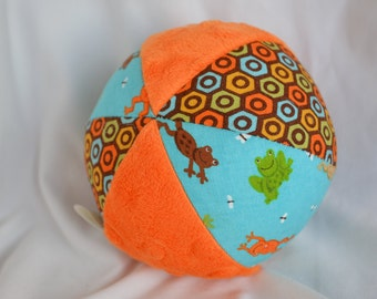 """Fabric Jingle Ball Baby Toy 4"""" with FROG fabric"""