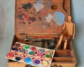 Vintage Artist Paint Box Water Color Paints & Cup Brushes and Poseable figure