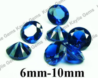 Synthetic Sapphire Lab Created Gemstone Blue Spinel Round Diamond Cut Pointed Back 10mm, 8mm, 6mm