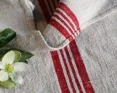 c 691: grain sack,  antique linen, FRENCH RED;  pillow benchcushion;  wedding decoration; christmas, thanksgiving; gift bag