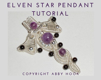 Elven Star Pendant, Wire Jewelry Tutorial, PDF File instant download with bonus chain tutorial