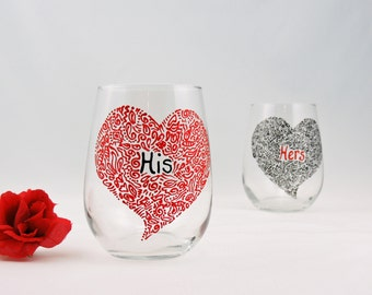 His and Hers wine glasses - Set of 2 - Hand painted stemless wine glasses - Sweetheart Collection