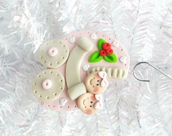 Personalized Baby's First Christmas Ornament - Twins First Christmas - Baby Shower Gift - Twin Girls - Polymer Clay Baby Ornament - 883