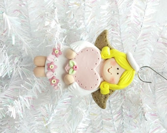 Handmade Angel Ornament - Polymer Clay Angel Christmas Ornament - Package Topper - Angel Collector Ornament - Angel Collector Gift - 8102