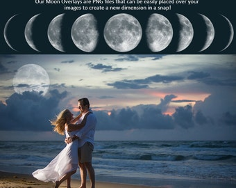 Designer Gems - MOON OVERLAYS - (9) Photoshop .png files - Photography Overlays For Your Photos and Quick Pages.