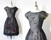 50s black floral dress, vintage 60s chiffon dress, extra small black floral cocktail dress