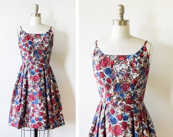 50s floral dress, vintage 1950s dress, floral tapestry dress with shawl, xxxs