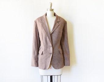 vintage 70s tweed blazer, 1970s wool blazer, women's jacket, extra large xl
